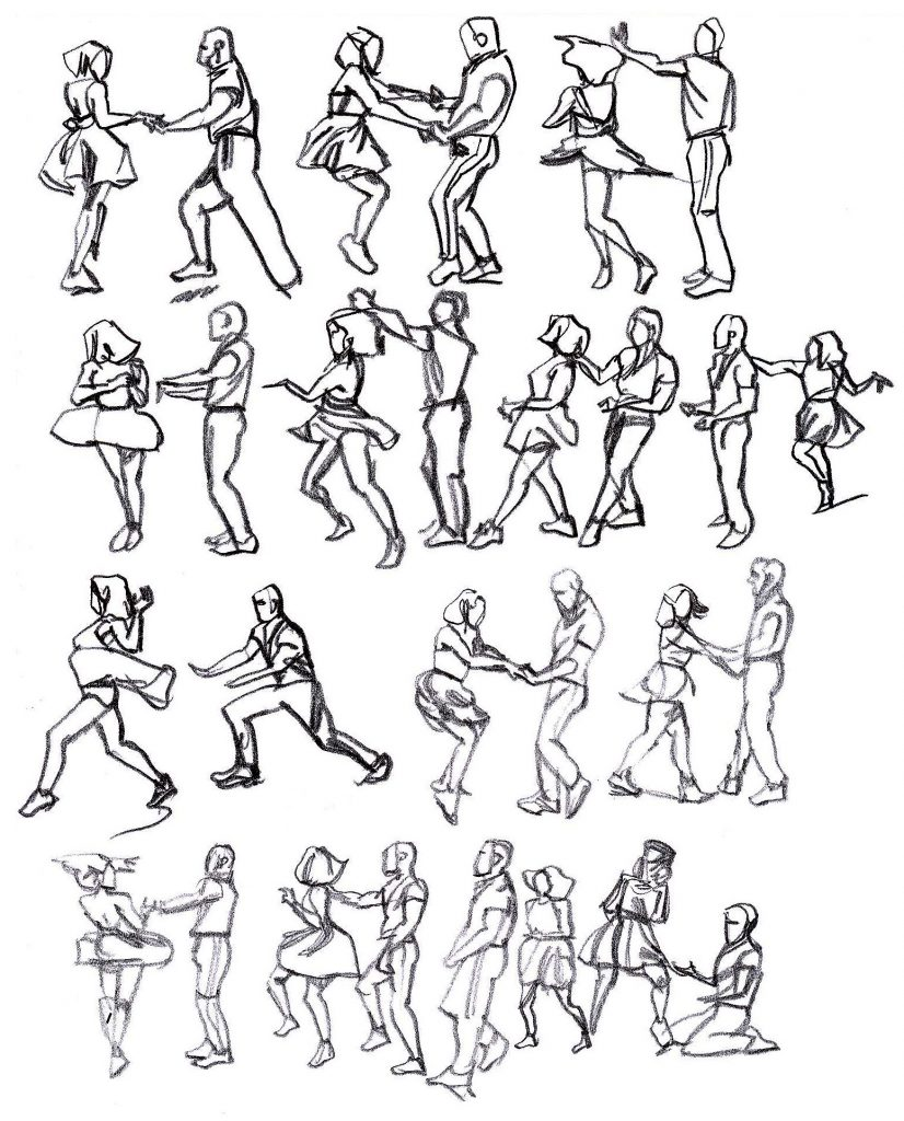 Rapid sketches of Max and Dianne dancing 2/5