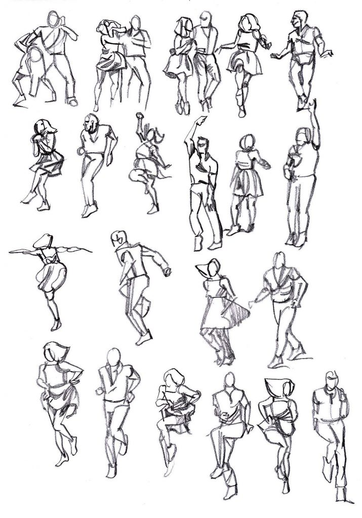 Rapid sketches of Max and Dianne dancing 3/5