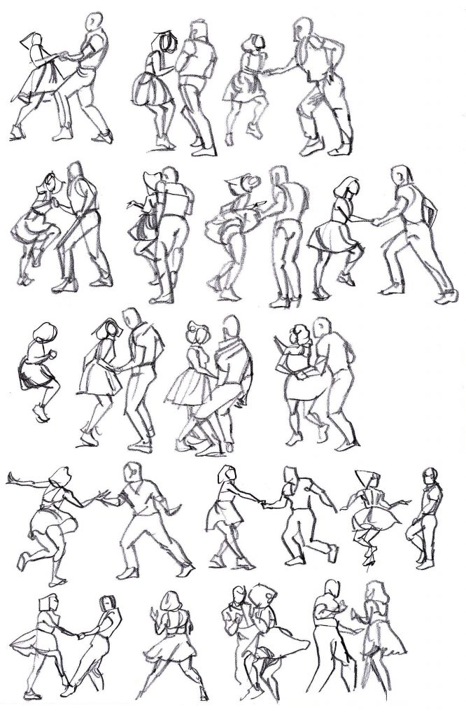 Rapid sketches of Max and Dianne dancing 4/5