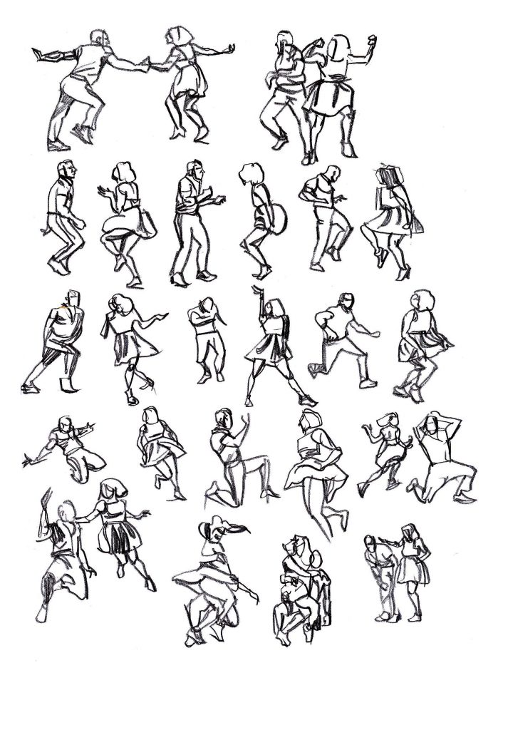 Rapid sketches of Max and Dianne dancing 5/5