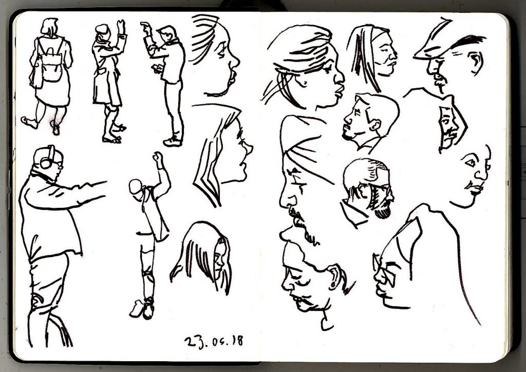 Sketches of London Underground commuters from 23rd June 2018