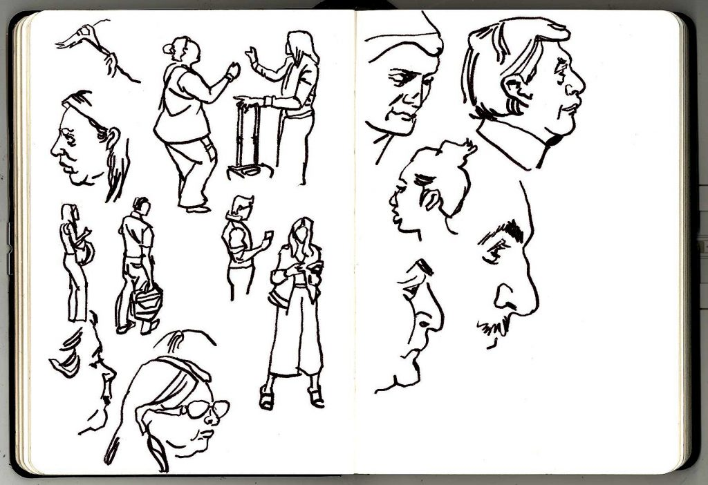 Sketches of London Underground commuters