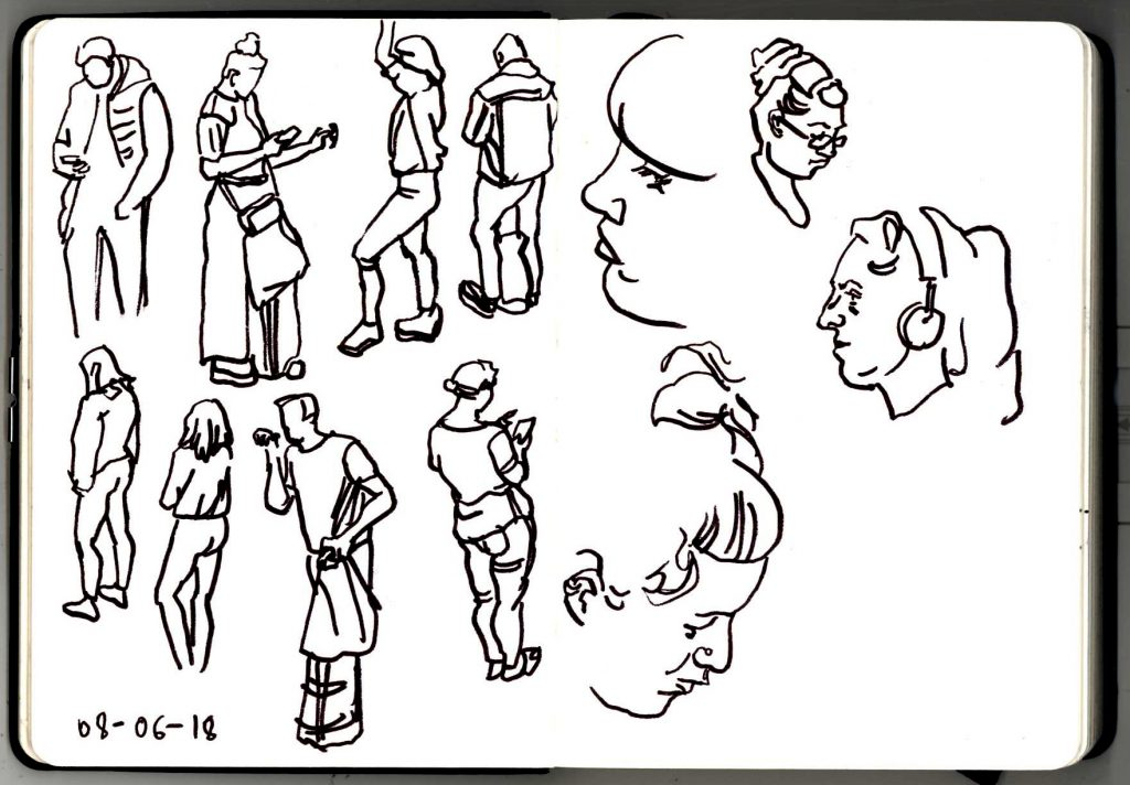 Sketches of London Underground commuters from 8th June 2018