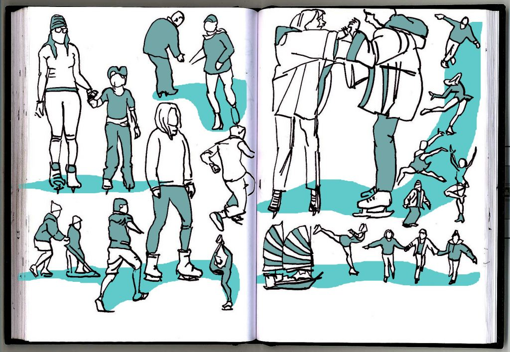 Sketches of people ice skating. with spot colour icy blue.