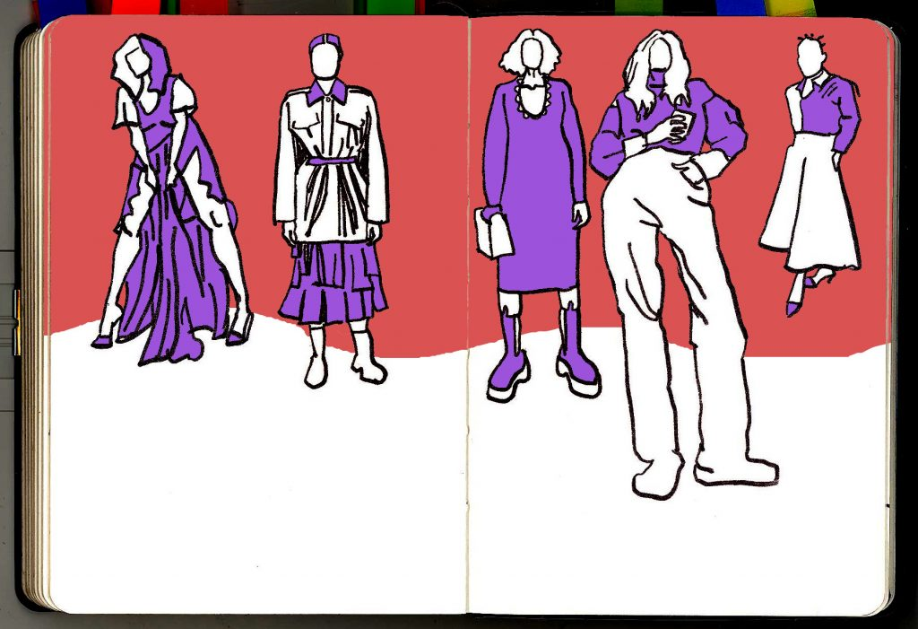 Sketches of people standing around in a variety of clothes, in purple and pink.