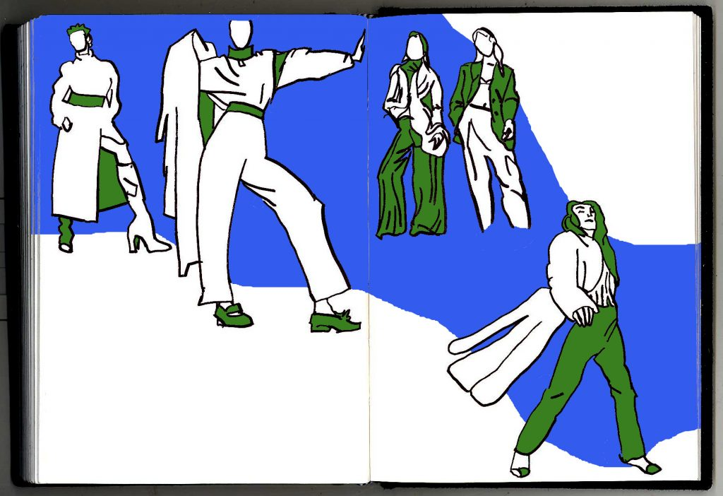Sketches of women walking a winding catwalk, in blue and green.