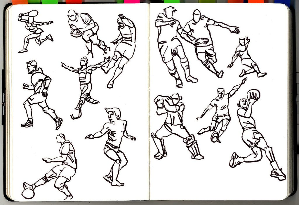 Pen and ink ketches of people playing tennis, rugby, football, cricket, basketball etc.