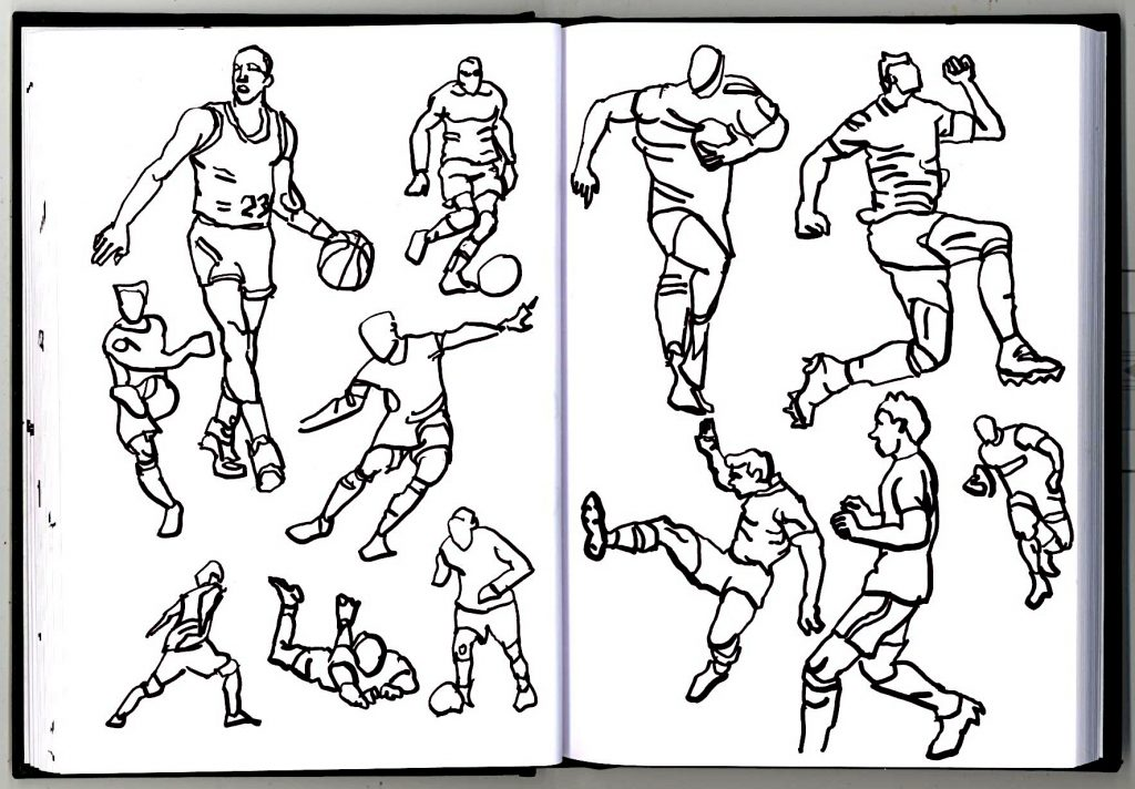 More sketches of people playing sports.