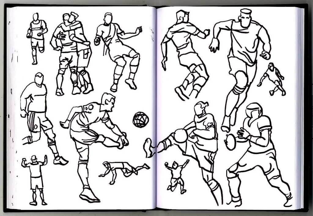 Yet more sketches of people playing sports.
