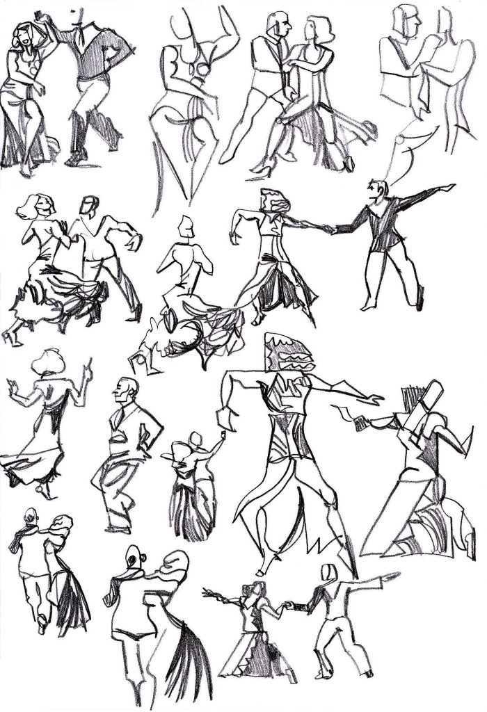 Slightly abstract pencil sketches of a Max and Dianne dance.