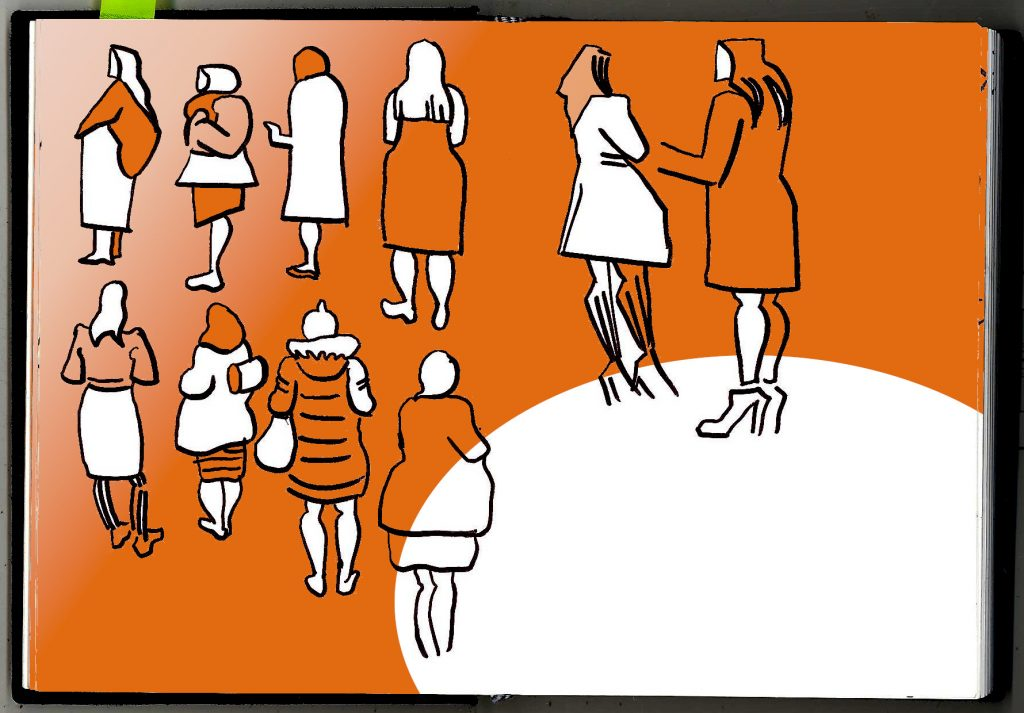 Abstract women in outdoor clothing stand around a spotlight with their backs to us. Drawn in pen and orange gradient.