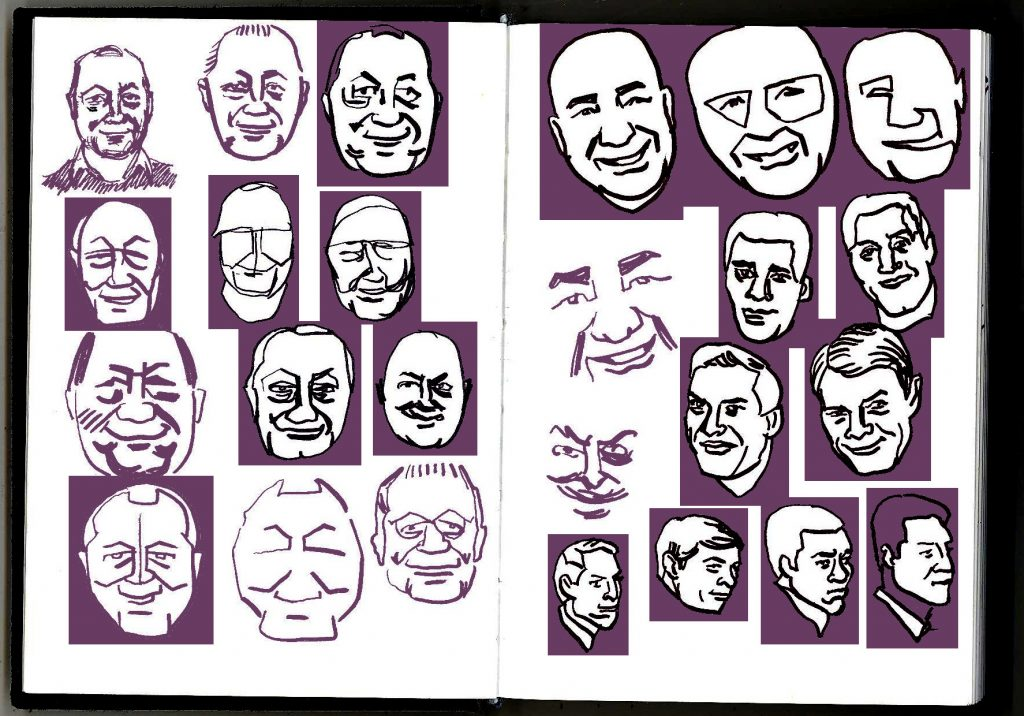 Drawings of several people, redrawn in different styles, some framed in purple.