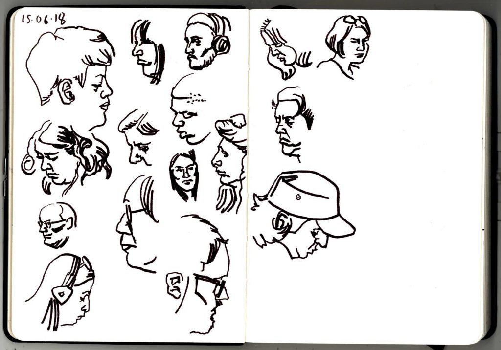 Pen and ink sketches of London Underground commuters, from 15th June 2018