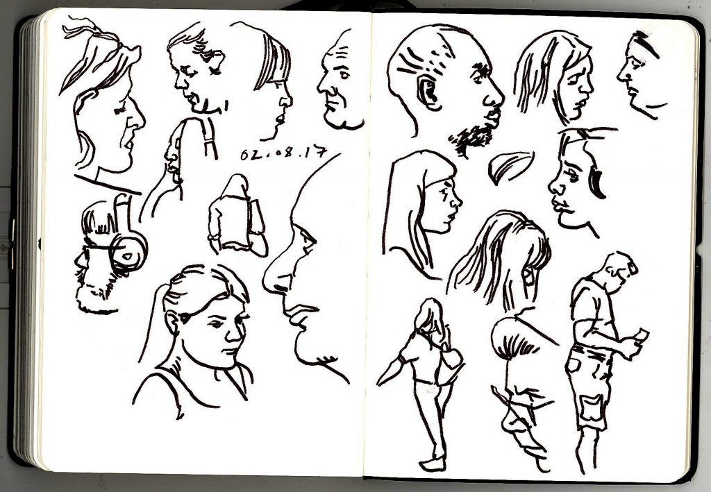 Pen and ink sketches of London Underground commuters, from 2nd August 2017