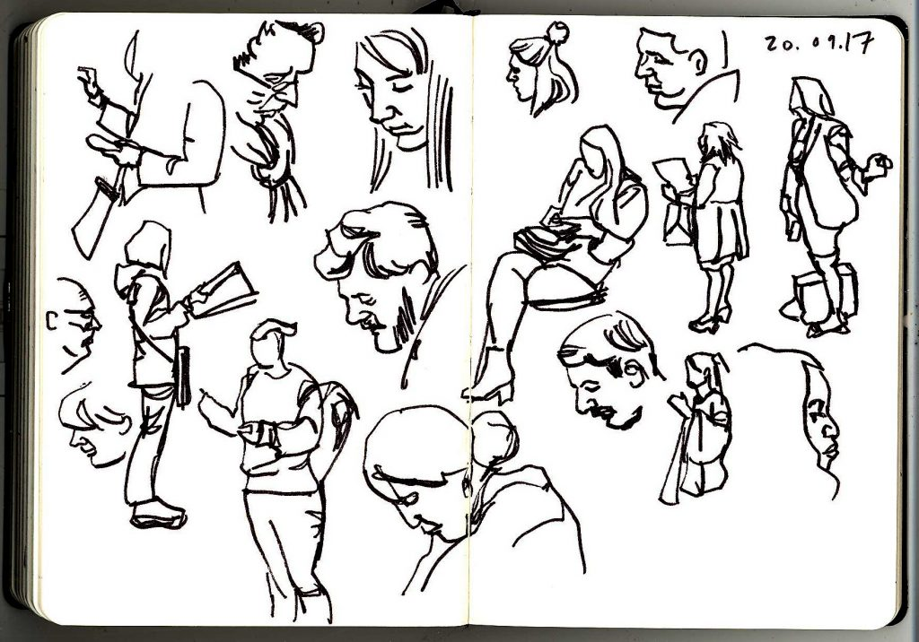 Pen and ink sketches of London Underground commuters, from 20th September 2017