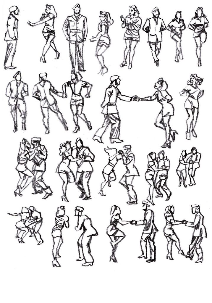 More pencil sketches of JJ and Amy dancing the jive in military costume