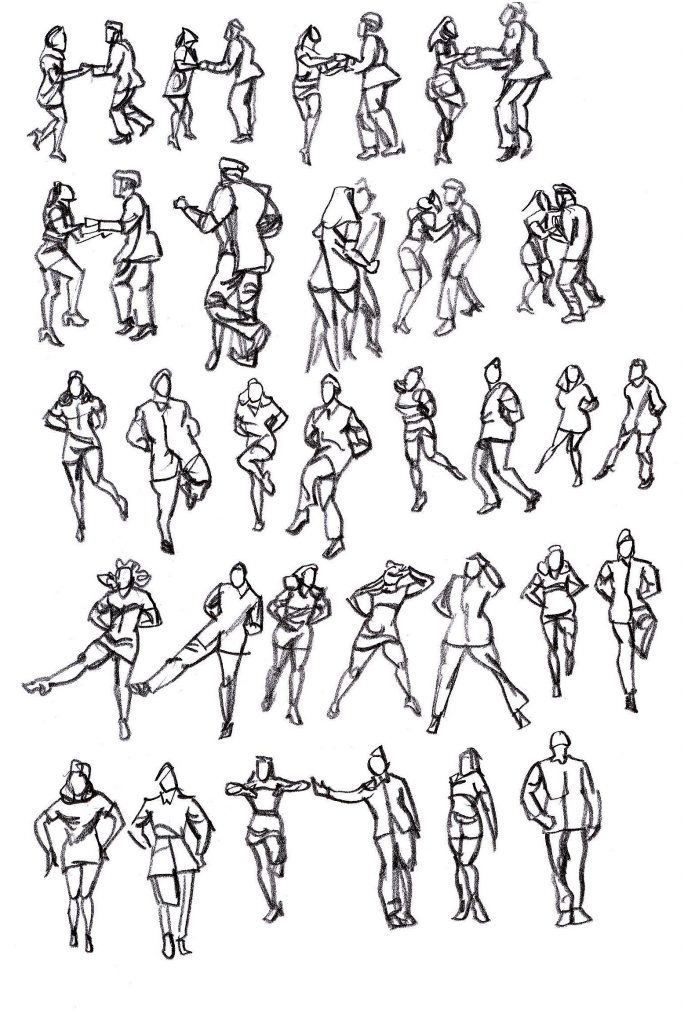 Final set of pencil sketches of JJ and Amy dancing the jive in military costume