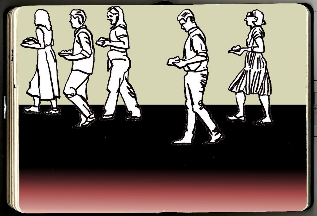 Sketchbook drawings of five people walking with food, in front of a dramatically silhouetted horizon.