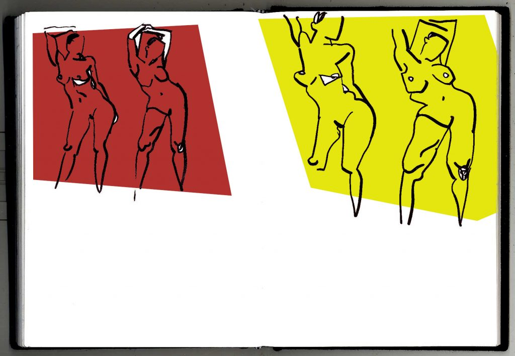 Two ink sketches of nudes on the left, abstract versions of the same on the right.