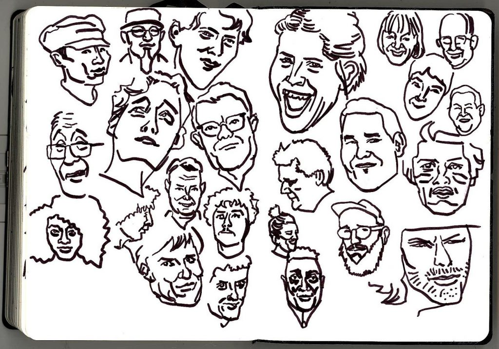 Faces of men and women drawn in pen and ink.