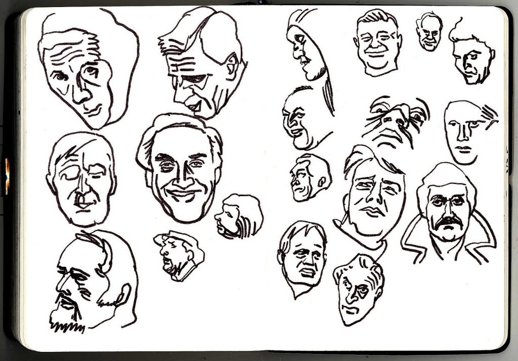 Faces of men drawn in pen and ink.