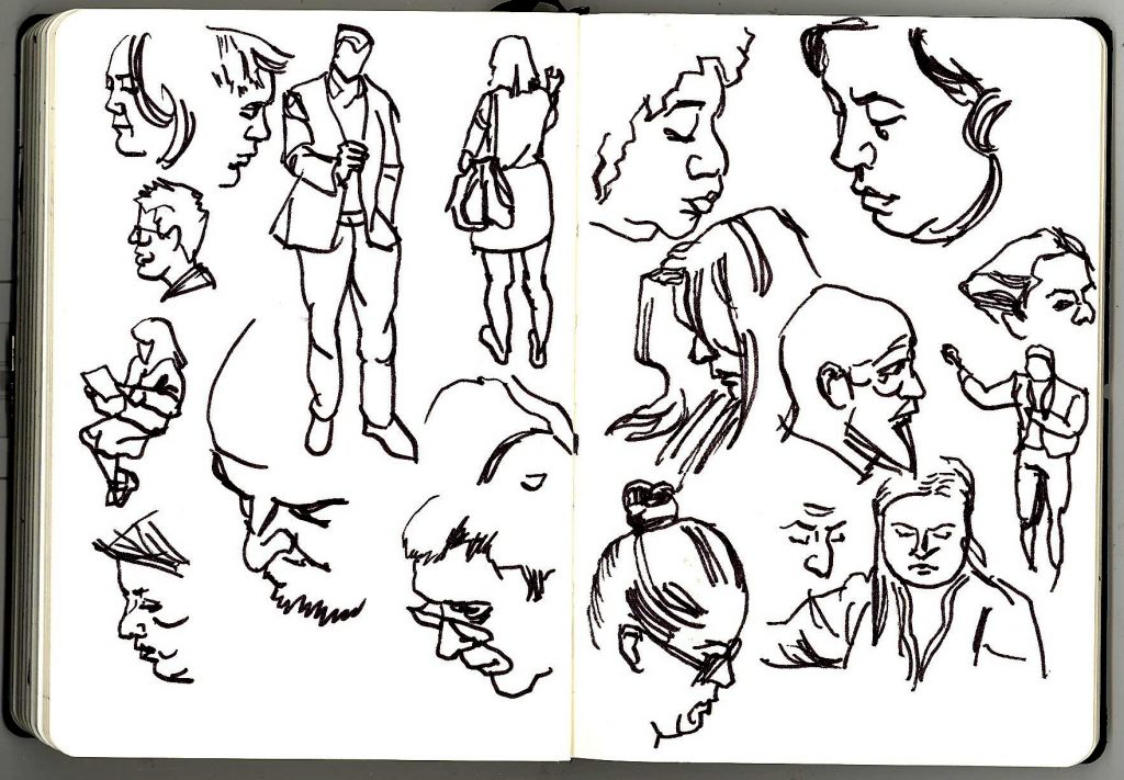 Yet more pen and ink drawings of London Underground commuters