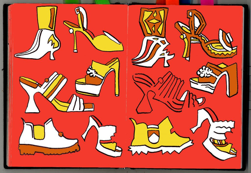 Odd drawings of shoes.