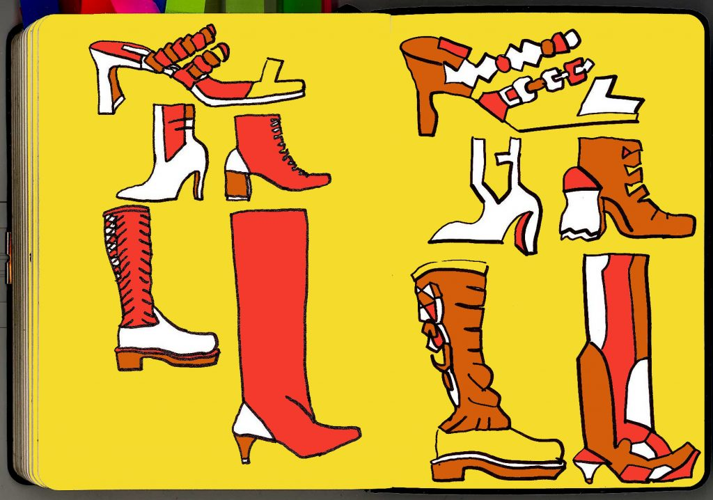 Sandals, heels, shoes, boots, in pen, ink and digi-colour.