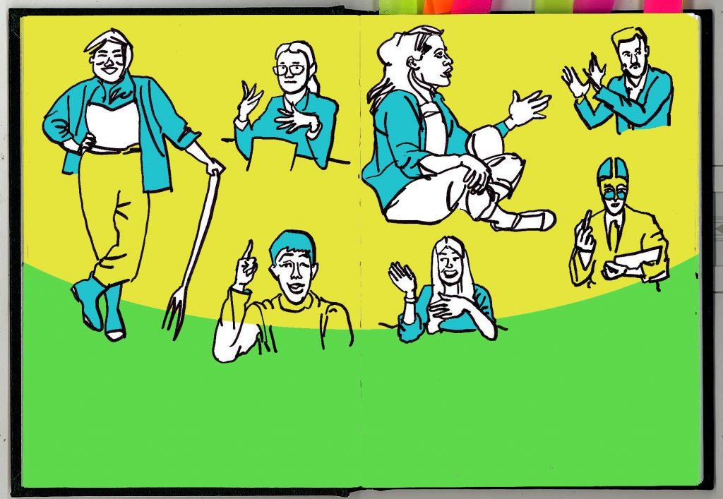 Pen and ink drawings of people explaining things, in a sketchbook spread. With yellow, green and blue colour added digitally.